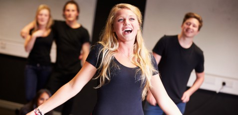 Students Taking Singing Class At Drama College. Student Singing